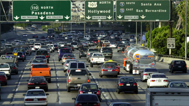 Traffic fills the 110 freeway during rush hour in downtown Los Angeles, California.