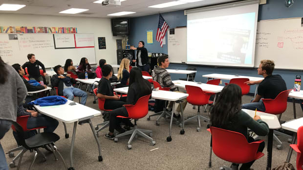 Teacher Catherine Connelly leads a lesson on giving compliments in Vista's new class on social and emotional wellness.