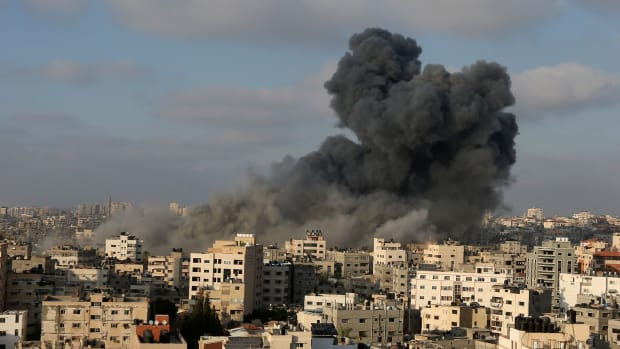 Smoke billows following an Israeli airstrike on Gaza City on August 9th, 2018.