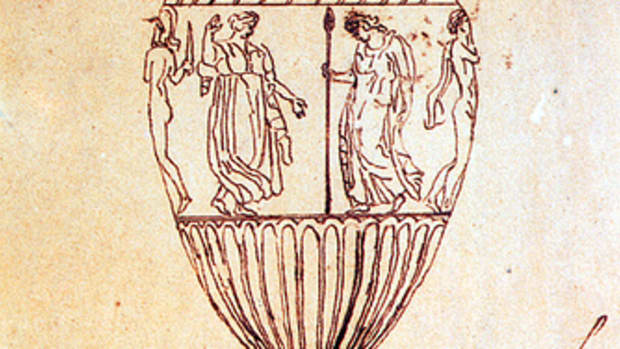 A tracing of an engraving of the Sosibios vase by John Keats.
