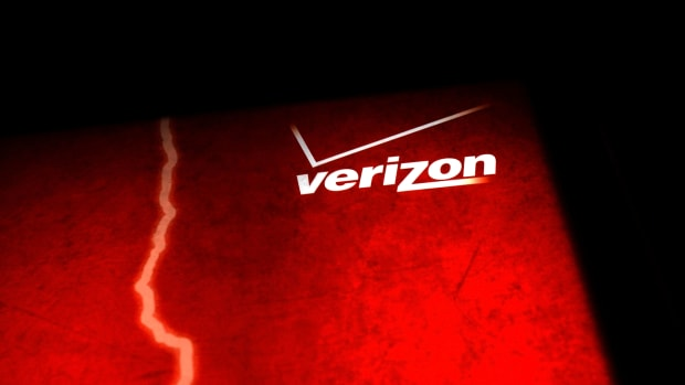 A Verizon advertisement is viewed outside of a store on June 7th, 2013, in New York City.