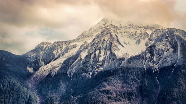 Mount Cheam seen from Seabird Island in British Columbia, Canada.