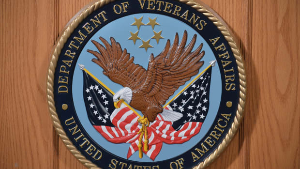 The seal of the Department of Veterans Affairs is seen in an auditorium on February 5th, 2013 at the Department of Veterans Affairs in Washington.