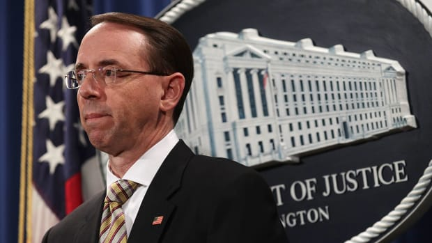 Deputy Attorney General Rod Rosenstein listens during a news conference about fentanyl and other opiate substances on October 17th, 2017, in Washington, D.C.
