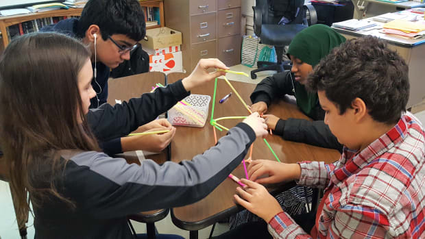Freshmen at St. Louis Park High School take time out of their social studies class for a team-building exercise that is part of the school's Building Assets, Reducing Risks program.