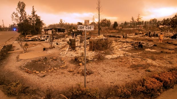 Destroyed properties in Redding, California.