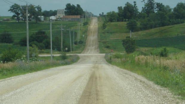 A road leading into Brooklyn, Iowa.