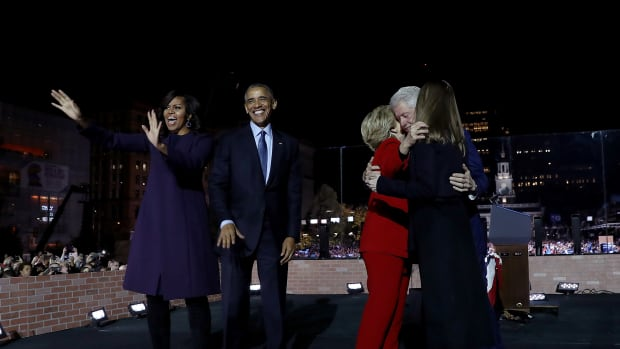 Michelle Obama, Barack Obama, Hillary Clinton, Chelsea Clinton, and Bill Clinton greet supporters during a campaign rally on Independence Mall on November 7th, 2016, in Philadelphia, Pennsylvania.