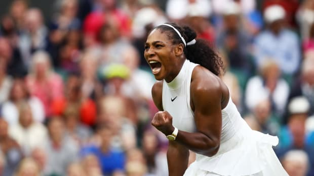 Serena Williams celebrates victory during the Ladies Singles second round match against Christina McHale on day five of the Wimbledon Lawn Tennis Championships at the All England Lawn Tennis and Croquet Club on July 1st, 2016, in London, England.