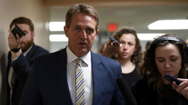 Senator Jeff Flake speaks to members of the media on January 17th, 2018, in Washington, D.C.
