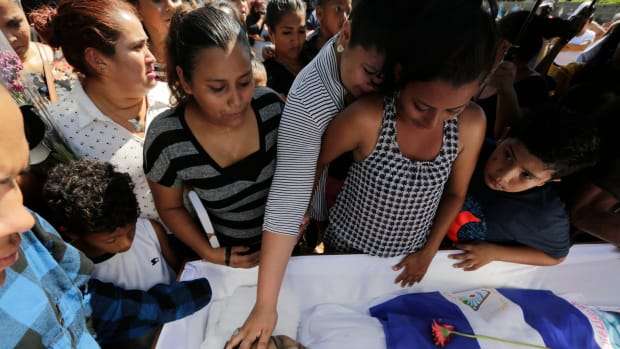 Relatives and friends mourn during the funeral of 26-year-old Ezequiel Leiva, who died in the hospital three months after being injured during anti-government protests, on September 18th, 2018, in Managua, Nicaragua. More than 300 protesters were killed in Nicaragua during months of unrest following demonstrations against President Daniel Ortega's government.