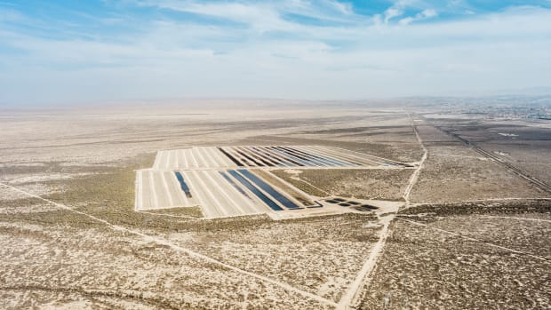 Wastewater ponds in an oil field in Kern County, California.