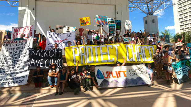 Young leaders rally in Albuquerque in support of the Frack Off Chaco Movement.