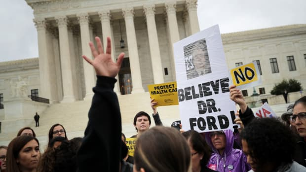 Protesters rally in front of the Supreme Court while demonstrating against the confirmation of Judge Brett Kavanaugh to the court on September 24th, 2018, in Washington, D.C.