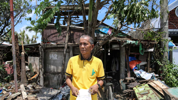 Leo Abad, 59, has already begun work fixing his home. He says it will take a month to fix.