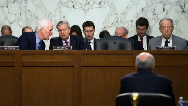 Senators John Cornyn (left), Lindsey Graham, and Chuck Grassley, pictured here in July of 2017.