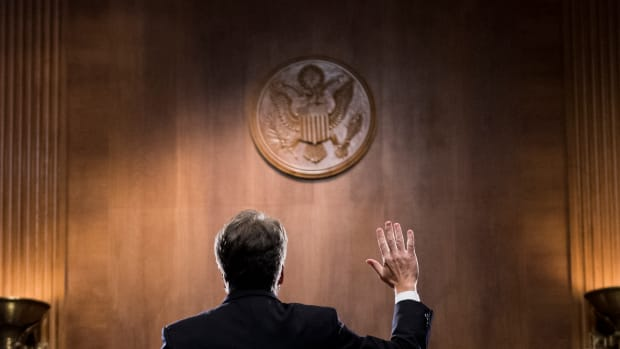 Judge Brett Kavanaugh is sworn in before testifying during the Senate Judiciary Committee on September 27th, 2018, in Washington, D.C.