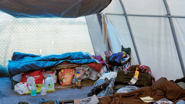 """""""If you have a tent city like this, at least you can be safe. Nobody understands that. Everybody thinks the tent cities are just a waste of time."""""""