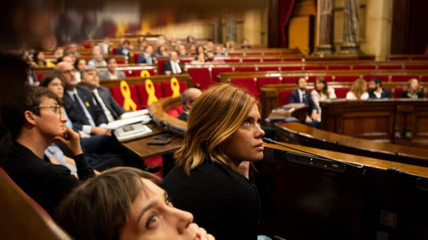 Spokeswoman of En Comu Podem Party Elisenda Alamany looks on during a Catalonia Parliamentary session on October 2nd, 2018, in Barcelona, Spain. Members of the Parliament of Catalonia voted to reject a suspension of former Catalan President Carles Puigdemont and five others from government service. The vote came a day after police and protesters clashed on the anniversary of the Catalonian independence referendum.