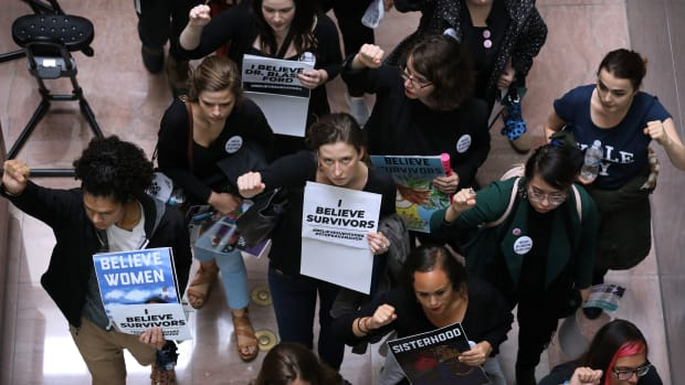 Hundreds of protesters rally in the Hart Senate Office Building while demonstrating against the confirmation of Supreme Court nominee Judge Brett Kavanaugh on Capitol Hill September 24th, 2018, in Washington, D.C.