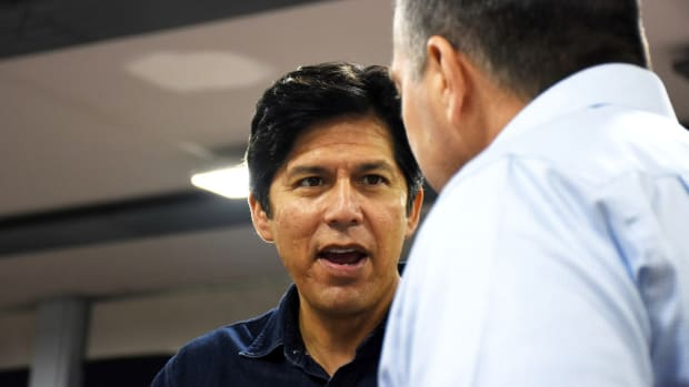 Kevin de León often frames himself as a leader of the resistance movement against President Donald Trump.