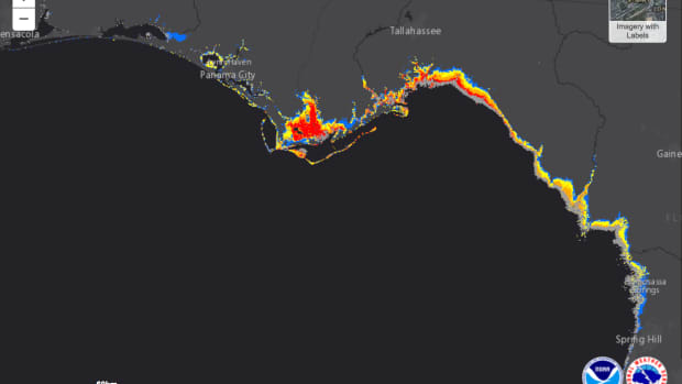 Hurricane Michael storm surge map from NOAA