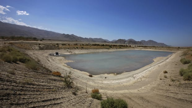The main recharge dyke for the Coachella Valley.