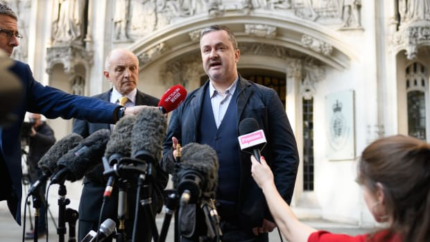Gay rights campaigner Gareth Lee speaks to the media outside the Supreme Court in London, England, on October 10th, 2018.