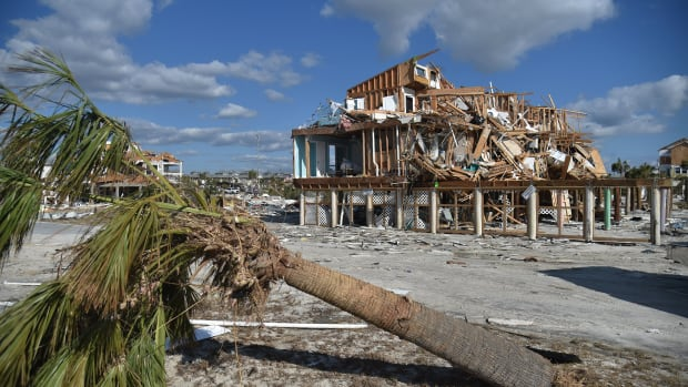 A view of the damaged caused by Hurricane Michael in Mexico Beach, Florida, on October 13th, 2018.