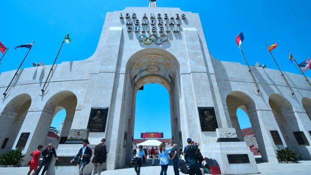 Journalists visit the Los Angeles Memorial Coliseum on May 11th, 2017.