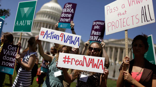 Activists rally in June of 2012 to support the renewal of the Violence Against Women Act in Washington, D.C.