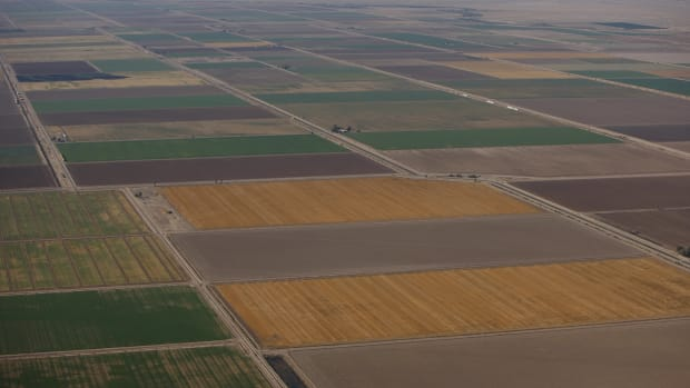 Aerial view of farmland in California's Imperial Valley.