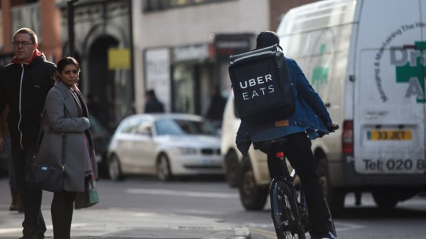 An UberEats rider cycles through London on February 16th, 2018.