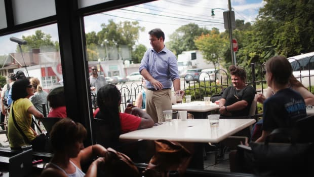 Ohio Democratic congressional candidate Danny O'Connor visits the Cup O Joe coffeehouse to thank voters and campaign volunteers and speak to reporters following a special election on August 8th, 2018, in Columbus, Ohio.