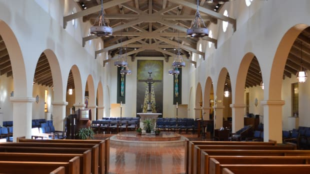 The interior of the Corpus Christi Church, in Fremont, California.