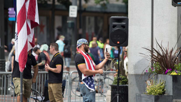 Joey Gibson, pictured here at a demonstration in Seattle.
