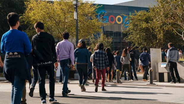 Google employees walk off the job to protest the company's handling of sexual misconduct claims, on November 1st, 2018, in Mountain View, California. Employees staged walkouts at offices around the world after a report last week that Google gave $90 million in a severance package to former executive Andy Rubin and covered up details of sexual misconduct allegations against him, which triggered his departure.