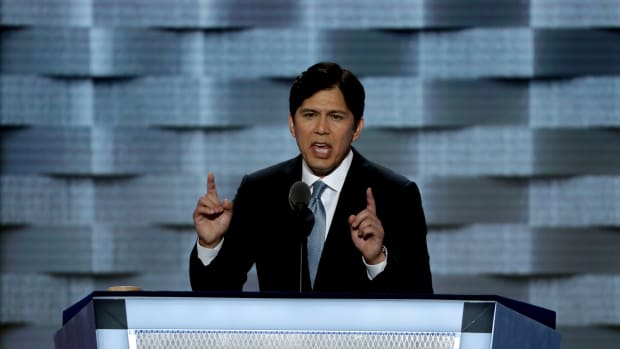 Kevin de León delivers a speech on the first day of the Democratic National Convention on July 25th, 2016, in Philadelphia, Pennsylvania.