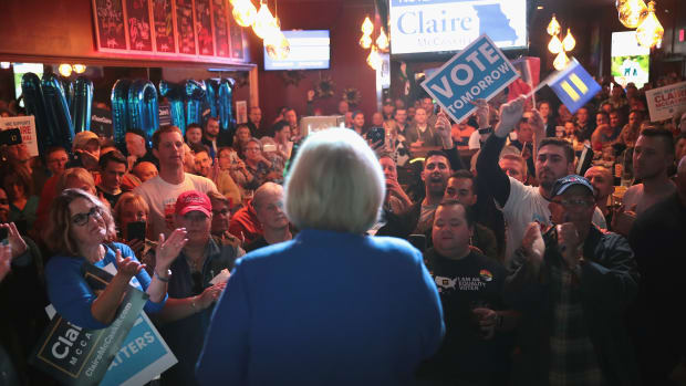 Senator Claire McCaskill (D-Missouri) speaks to supporters during a campaign stop at the Just John Nightclub on November 4th, 2018, in St. Louis, Missouri.