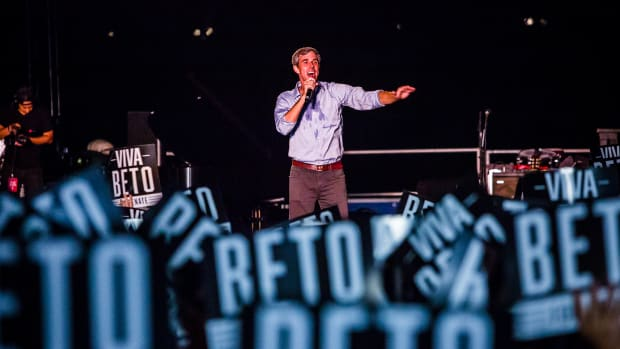 Beto O'Rourke speaks at a campaign rally on September 29th, 2018, in Austin, Texas.