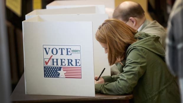 Voters cast ballots at a polling place on November 6th, 2018, in Kirkwood, Missouri.
