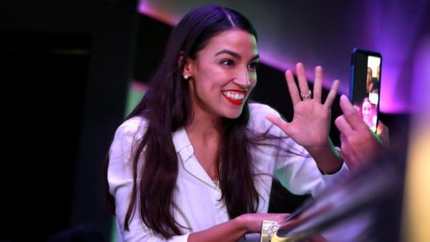 Newly elected U.S. Representative Alexandria Ocasio-Cortez celebrates her victory at La Boom night club in Queens, New York, on November 6th, 2018.