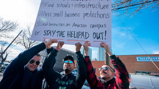 Protesters gather in Long Island City on November 14th, 2018, in Long Island City, New York.