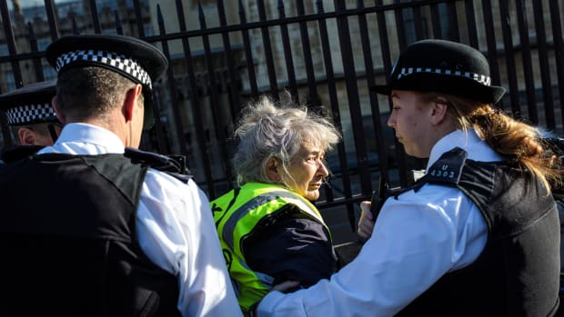 "A climate activist is arrested after spray-painting on the gates outside the Houses of Parliament on November 14th, 2018, in London, England. Climate activist group Extinction Rebellion held a series of coordinated direct actions in Westminster, including writing ""VEGAN SAVES US ALL"" and ""LOVE EACH OTHER"" on the gates."