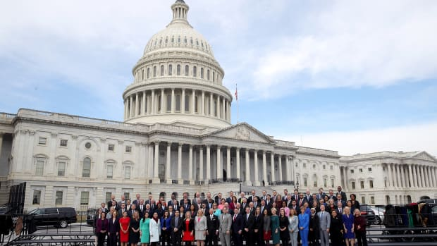 Newly elected members of the House of Representatives pose for an official class photo outside the U.S. Capitol on November 14th, 2018.