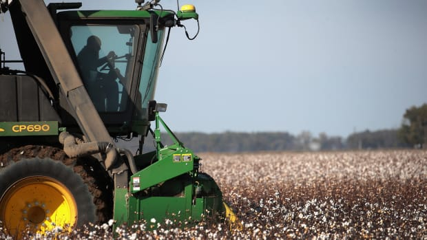 A worker harvests cotton with a John Deere cotton picker on October 30th, 2017, near Wilson, Arkansas.