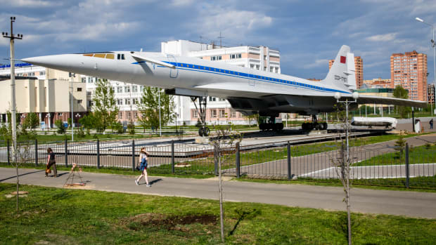 A picture taken on May 15th, 2018, shows the Russian supersonic plane Tu-144 on display in the city of Kazan. A similar plane, the Tupolev Tu-144, was the first of only two supersonic transport aircraft to ever enter commercial service, beating the Concorde by two months. The prototype first flew 50 years ago today, on December 31st, 1968, near Moscow.