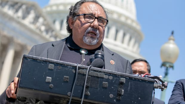 Representative Raúl Grijalva speaks during a news conference at the U.S. Capitol on July 10th, 2018, in Washington, D.C.