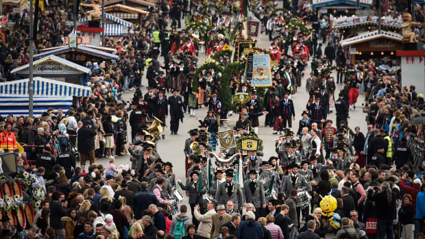 Bands in traditional uniforms march in a costume parade on the second day of the 2017 Oktoberfest beer fest on September 17th, 2017, in Munich, Germany.