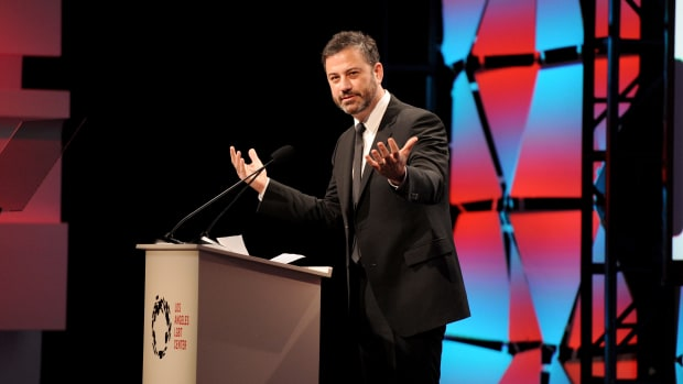 Host Jimmy Kimmel speaks onstage at Los Angeles LGBT Center's 48th Anniversary Gala Vanguard Awards at The Beverly Hilton Hotel on September 23rd, 2017, in Beverly Hills, California.